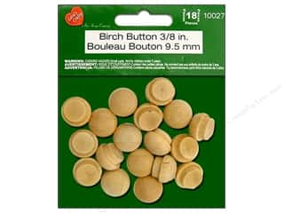 Lara's Wood Birch Button 3/8 in. 18 pc.