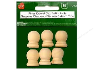 craft & hobbies: Lara's Wood Finial Dowel Cap 1/4 in. Hole 6 pc.