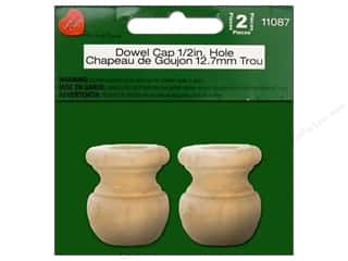 Dowel: Lara's Wood Dowel Cap 1/2 in. Hole 2 pc.