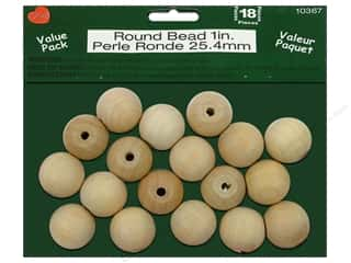 wood beads: Lara's Wood Round Bead Value Pack 1 in. 18 pc.