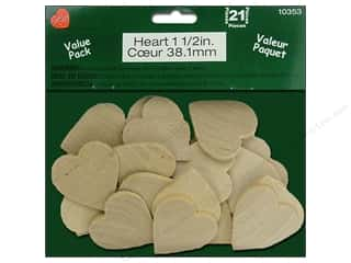 craft & hobbies: Lara's Wood Heart Value Pack 1 1/2 in. 21 pc.