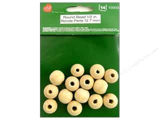 craft & hobbies: Lara's Wood Round Bead 1/2 in. 14 pc.