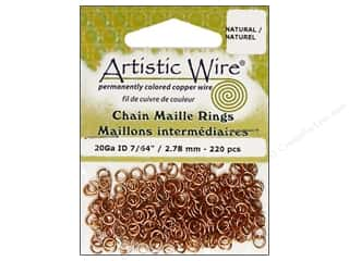 jump rings: Artistic Wire Chain Maille Jump Rings 20 ga. 7/64 in. Natural 220 pc.