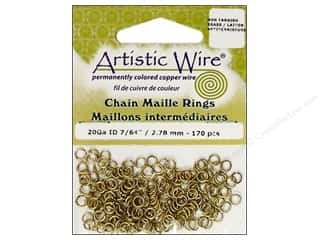 jump rings: Artistic Wire Chain Maille Jump Rings 20 ga. 7/64 in. Brass 170 pc.
