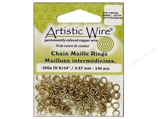 beading & jewelry making supplies: Artistic Wire Chain Maille Jump Rings 20 ga. 9/64 in. Brass 140 pc.