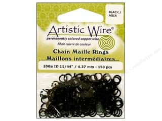 Jump Rings / Spring Rings: Artistic Wire Chain Maille Jump Rings 20 ga. 11/64 in. Black 150 pc.