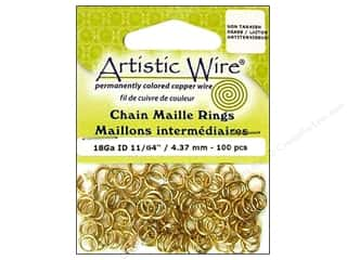 Accent Designs Brass Rings: Artistic Wire Chain Maille Jump Rings 18 ga. 11/64 in. Brass 100 pc.