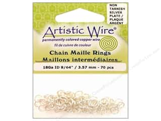 beading & jewelry making supplies: Artistic Wire Chain Maille Jump Rings 18 ga. 9/64 in. Silver 70 pc.