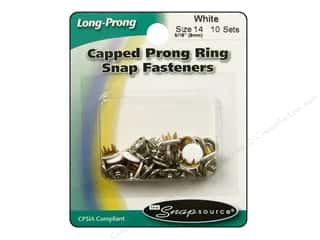 Snapsource Capped Prong Ring Snap Fasteners Size 14 White