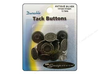 Snapsource Tack Button Wheat Wreath Antique Silver
