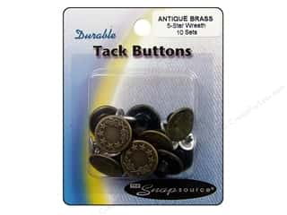Jean Buttons: Snapsource Tack Button 5 Star Wreath Antique Brass