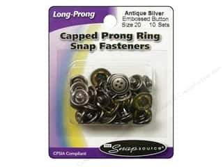 Snapsource Capped Prong Ring Snap Fasteners Size 20 Antique Silver Embossed Button