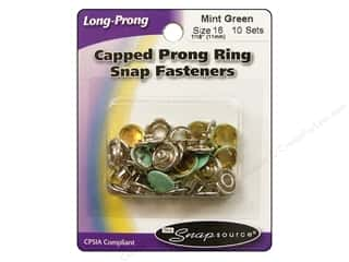 Snapsource Capped Prong Ring Snap Fasteners Size 16 Mint Green