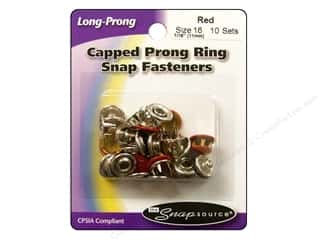 Snapsource Capped Prong Ring Snap Fasteners Size 16 Red