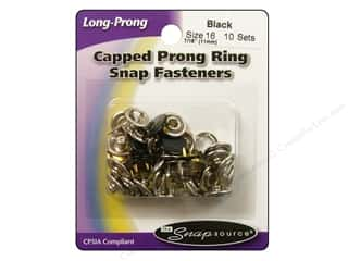 Snapsource Capped Prong Ring Snap Fasteners Size 16 Black