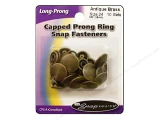 Snapsource Capped Prong Ring Snap Fasteners Size 24 Antique Brass