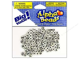 beading & jewelry making supplies: Darice Alphabet Beads 5 mm Cube White with Black Letters 104 pc.