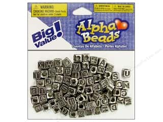 beading & jewelry making supplies: Darice Alphabet Beads 6 mm Cube Silver with Black Letters 85 pc.