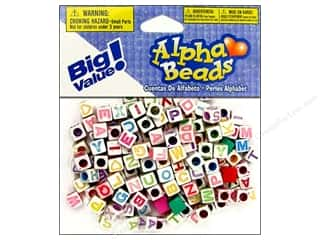 beading & jewelry making supplies: Darice Alphabet Beads 6 mm Cube White with Assorted Letters 160 pc.