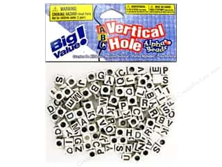 beading & jewelry making supplies: Darice Alphabet Beads 6 mm Cube White with Black Letters 160 pc. - Vertical Hole