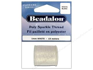 beading & jewelry making supplies: Beadalon Poly Sparkle Thread .039 in. White 49.2 ft.