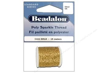 beading & jewelry making supplies: Beadalon Poly Sparkle Thread .039 in. Gold 49.2 ft.
