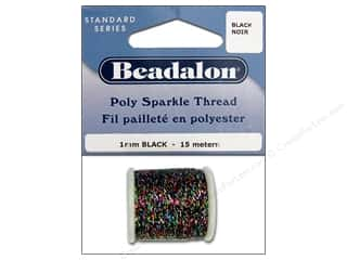 twine: Beadalon Poly Sparkle Thread .039 in. Black 49.2 ft.