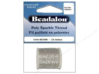 beading & jewelry making supplies: Beadalon Poly Sparkle Thread .039 in. Silver 49.2 ft.