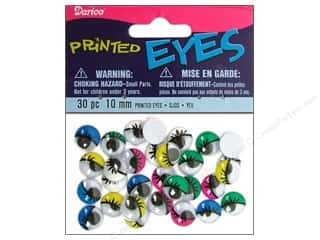 Darice Googly Eyes Paste-On 10 mm Multi Printed 30 pc.
