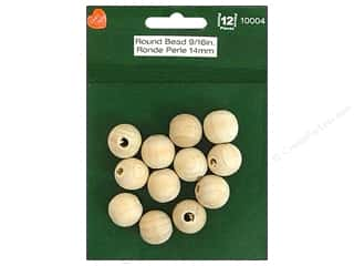 wood beads: Lara's Wood Round Bead 9/16 in. 12 pc.