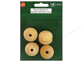 wood beads: Lara's Wood Round Bead 1 in. 4 pc.