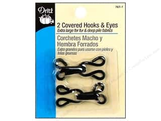 Covered Hooks and Eyes by Dritz Black 2 pc.