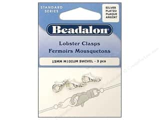 beading & jewelry making supplies: Beadalon Lobster Clasps Medium Swivel Silver 3 pc.