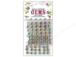 beading & jewelry making supplies: Darice Self-Stick Gems 7 mm Round 78 pc. Crystal Aurora Borealis
