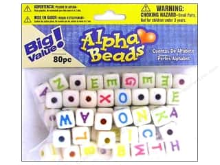 beading & jewelry making supplies: Darice Alphabet Beads 12 mm Cube White with Assorted Letters 80 pc.