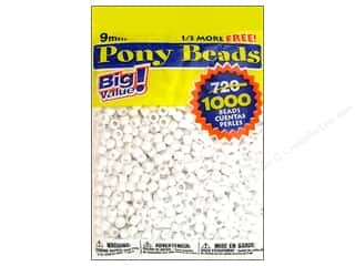 craft & hobbies: Darice Pony Beads 6 x 9 mm 1000 pc. White