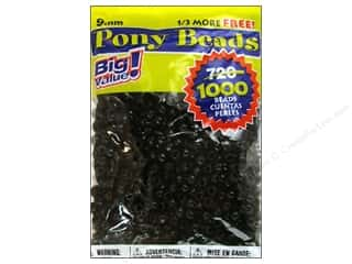 beading & jewelry making supplies: Darice Pony Beads 6 x 9 mm 1000 pc. Black