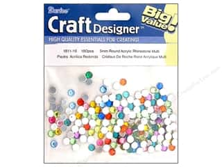 beading & jewelry making supplies: Darice Acrylic Rhinestones 5 mm Round 180 pc. Assorted Colors