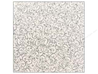 American Crafts 12 x 12 in. Paper Glitter Swirl Silver (15 sheets)
