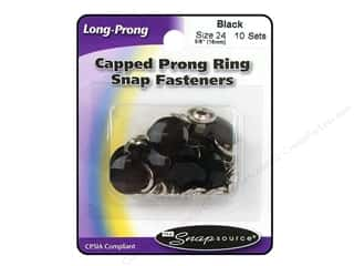 Snapsource Capped Prong Ring Snap Fasteners Size 24 Black