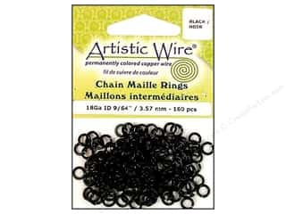 jump rings: Artistic Wire Chain Maille Jump Rings 18 ga. 9/64 in. Black 160 pc.