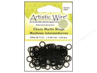 spring creating sale: Artistic Wire Chain Maille Jump Rings 18 ga. 7/32 in. Black 110 pc.