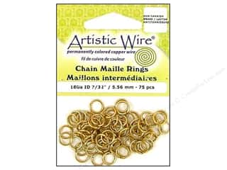 spring creating sale: Artistic Wire Chain Maille Jump Rings 18 ga. 7/32 in. Brass 75 pc.