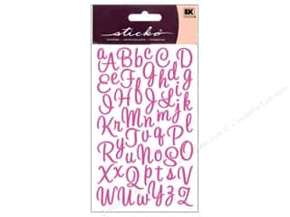 stickers: EK Sticko Alphabet Stickers Script Sweetheart Small Glitter Pink