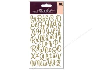 stickers: EK Sticko Alphabet Stickers Script Sweetheart Small Glitter Gold