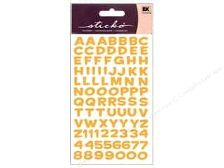 stickers: EK Sticko Alphabet Stickers Funhouse Metallic Yellow