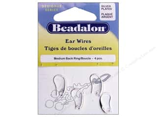 Beadalon Ear Wires Medium Back Ring 4 pc. Silver Plated