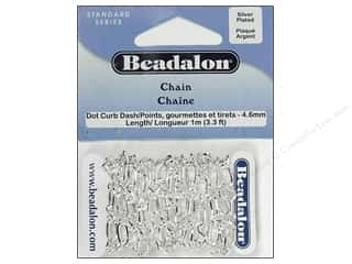 Beadalon Dot-Curb-Dash Chain 4.6 mm (.181 in.) Silver Plated 1 m (3.28 ft.)