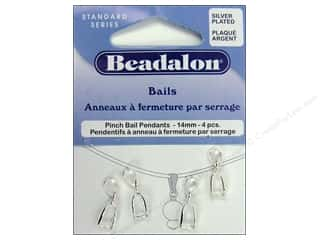 beading & jewelry making supplies: Beadalon Pinch Pendant Bail 14 mm Silver Plated 4 pc.