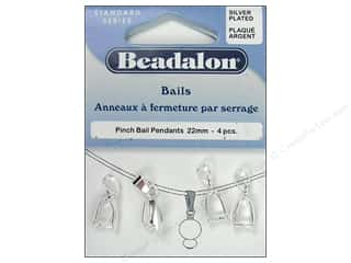 beading & jewelry making supplies: Beadalon Pinch Pendant Bail 22 mm Silver Plated 4 pc.